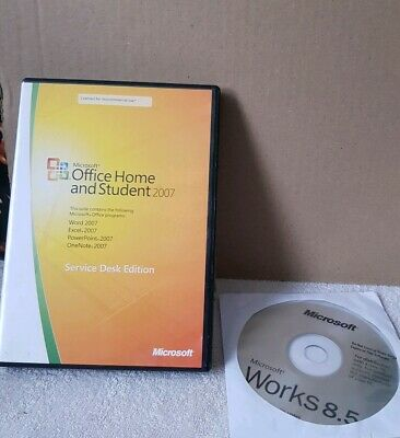 MICROSOFT OFFICE HOME AND STUDENT 2007 FULL SERVICE DESK EDITION & works 8.5