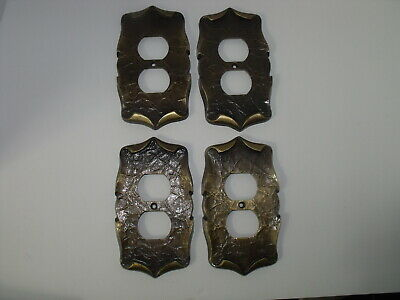 Four Vintage Amerock Carriage House Duplex Outlet Plate Cover Antique Brass 70s