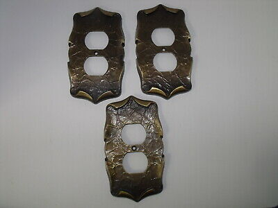 Three Vintage Amerock Carriage House Duplex Outlet Plate Cover Antique Brass 70s
