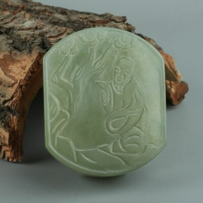 Chinese Exquisite Hand-carved pine Old man carving Hetian jade belt buckle