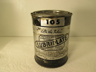 "Vintage ""LUBRIPLATE"" #105 SUPER-LUBRICATION Grease Can LQQK!!!"