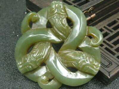 Antique Chinese Nephrite Celadon Hetian-OLD  jade Hollow 3-Snake Statues/Pendant