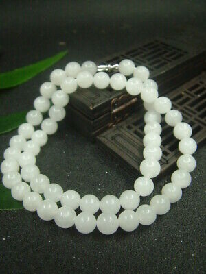 Antique Chinese Nephrite Celadon Hetian -white jade 8mm beads Necklaces Pendant