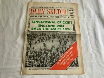 Rare Vintage 1926 Daily Sketch Cricket England Win Back The Ashes Newspaper