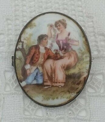 Antique Victorian Hand Painted Cameo Porcelain Brooch Pin Courting Lovers Enamel