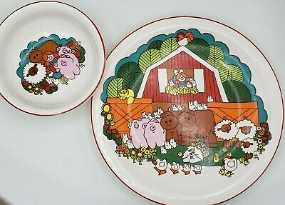 Vintage Pfaltzgraff Child Plate and Bowl Cup Set By Kate Kelly Farm Animals