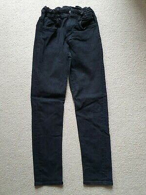 Boys H&M black skinny fit jeans, adjustable waist, age 10 - 11 years