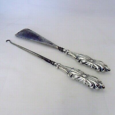 Solid Silver and steel Shoe Horn and Button Hook, Birmingham, 1908