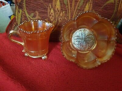 Vintage Sowerby Lea design marigold Carnival Glass 3 footed Cream and Sugar