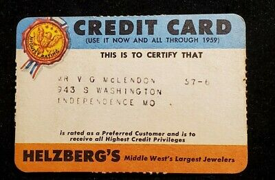 Helzberg's Jewelers paper credit card exp 1959♡Free Shipping♡cc949