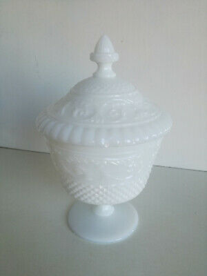 Old Vintage White Opaline Glass Candy Box Shabby Chic Retro Victorian Jeweler