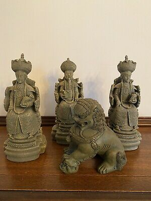 4 Vintage Asian Chinese Stone Statues Foo Dog Fu Dog Figural People Green Gold