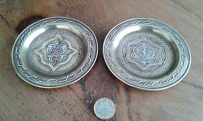 TWO small brass and copper pin dishes with alloy inlay - possibly Islamic ?