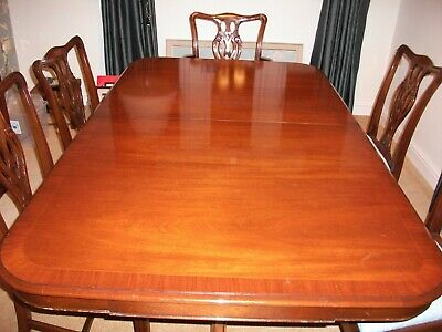 Large Mahogany Double Pedestal Dining Table Extends 6-8 Chippendale Vintage
