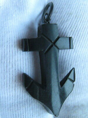Antique Victorian Hand Carved Whitby Jet Anchor Charm / Fob