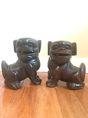 Vintage Hand Carved Chinese Wooden Lion Dog Guardian Figure Ball in Mouth