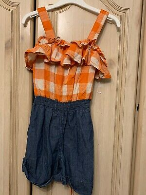 Lovely Next Girls Orange & White Check / Blue Playsuit Age 7 Excellent Condition