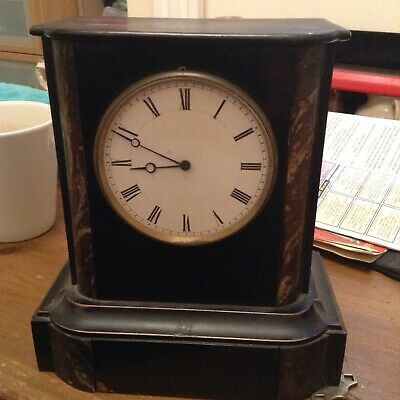 Rare Antique 19Th C French V.a.p  Brevete S.g.d.c Wooden Ebonized Mantle Clock