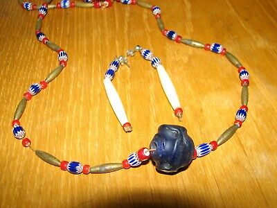 Chevron, White Heart, Brass Bead, Cobalt Blue Glass Bead Necklace and Earrings