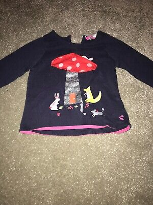 Girls Joules Toadstool Top 3 Years Navy Blue