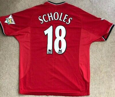 Manchester United Man Utd 2000 - 2002 Home Shirt/ Scholes 18/ Extra Large (XL)