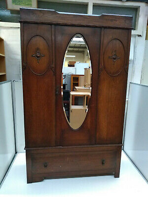 VICTORIAN EDWARDIAN MAHOGANY Wardrobe - Single Door MIRRORED Three Piece GREAT!
