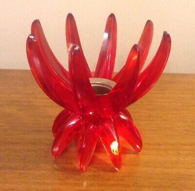 Retro Mid Century Friedel Red Acrylic Starburst Candle Holder