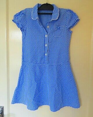 Girls 'Matalan' blue/white checked school dress, aged 7 years.