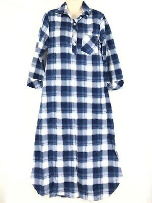 Sleepytime PJs Flannel Night Dress XS Blue Plaid 1/4 Button Collar