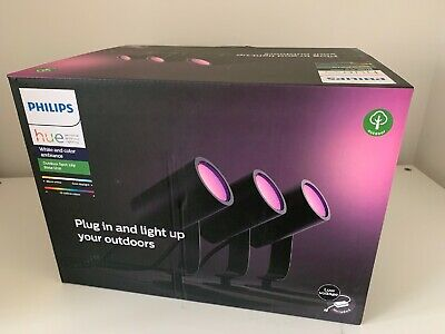Philips Hue Lily White Colour Ambiance LED 3x Spotlight Base Kit Outdoor Lights