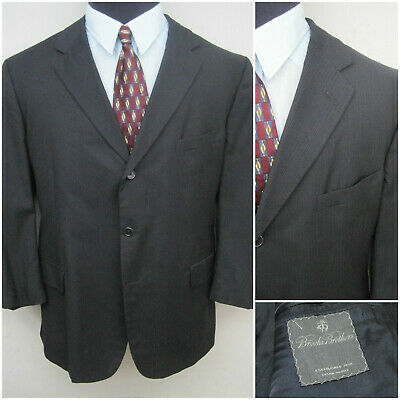 BROOKS BROTHERS 1818 USA Made Mens 48R Charcoal Gray Pinstripe 3 Btn Sports Coat