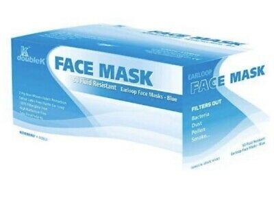 Earloop Face Mask - 50 Fluid Resistant Blue Masks By doubleK - Surgical Grade
