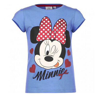 Disney Minnie Mouse Girls Blue T-Shirt Top with Red Glitter Hearts Print 6yrs