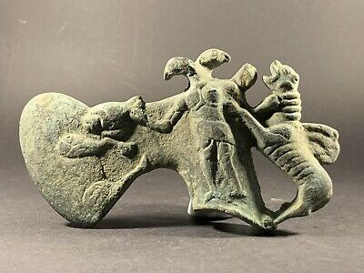 Extremely Rare Luristan Bronze War Ax-Decorated With Animals - Circa 1000-700 Bc