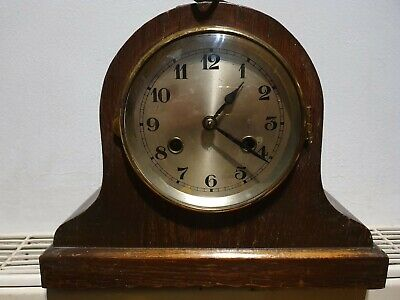 Vintage wooden mantle clock with chime ANTIQUE CLOCK NOT TESTED SPARES + key