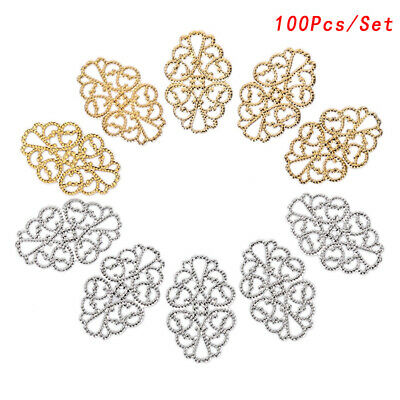 100Pcs Filigree Flower Crafts Charms DIY Findings Decoration Pendants Jewelry FE
