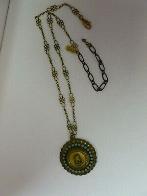 Signed Grandmother's Buttons Brass Gold Tone Faux Turquiose Metal Cameo Necklace
