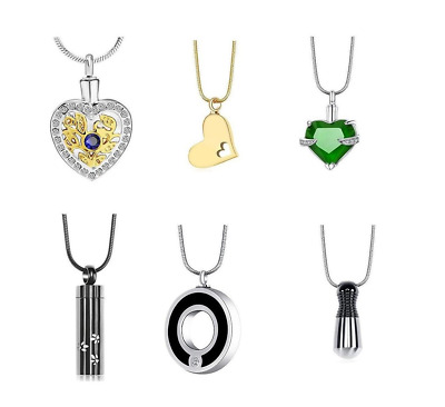 Stainless Steel Urn Cremation Pendant Necklace Ash Holder Keepsake Jewelry