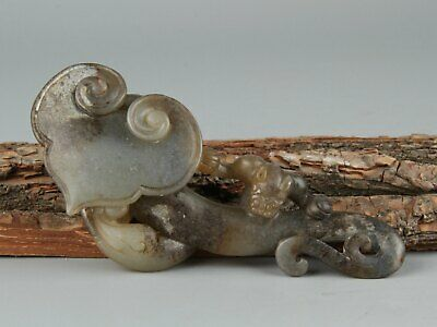 Chinese Exquisite Hand-carved Ganoderma beast Carving Hetian jade statue