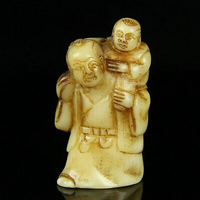 Chinese Exquisite Hand-carved Ancient people child Carving antlers statue