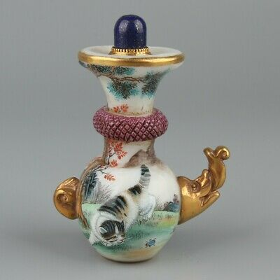 Chinese Exquisite Handmade Cat Elephant pattern Glass snuff bottle