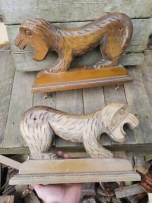 A Very Large Pair Of Antique Carved Oak Wood Wooden Lion Statues Monks Bench