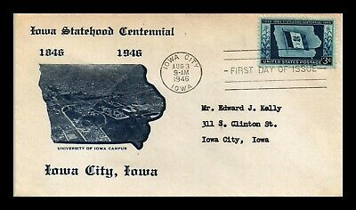 Dr Jim Stamps Us Iowa Statehood Centennial First Day Cover Scott 942