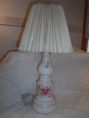 Antq Hand-Painted Cased Milk Glass Boudoir Vanity Lamp w/Pleated Celluloid Shade