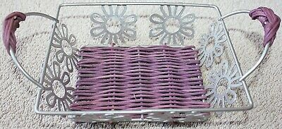 Small Metal and Purple Wicker Basket with Flowers on Side