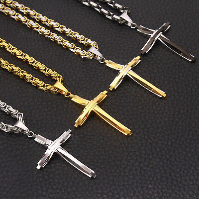 Men Boys Hip Hop Stainless Steel High Quality Cross Pendant Byzantine Necklace