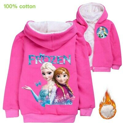 Frozen Elsa Anna Girls kids Winter coat warm hoodie jacket  size 5-12 cotton