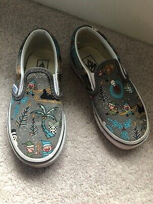 Winter Cartoon Print Childrens Size 10 Vans Slip On