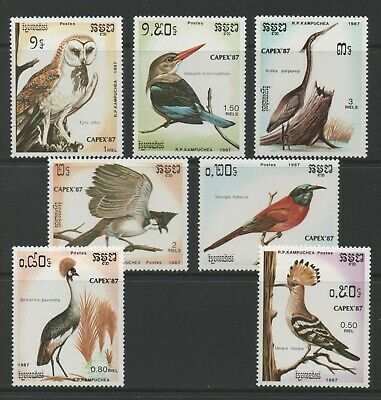 Thematic Stamps Animals - KAMPUCHEA 1987 CAPEX BIRDS 7v 823/9 mint