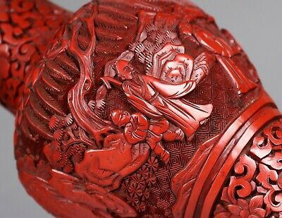 Antique Chinese Cinnabar Lacquer Vase Hand Carved with Figures Late 19th Century